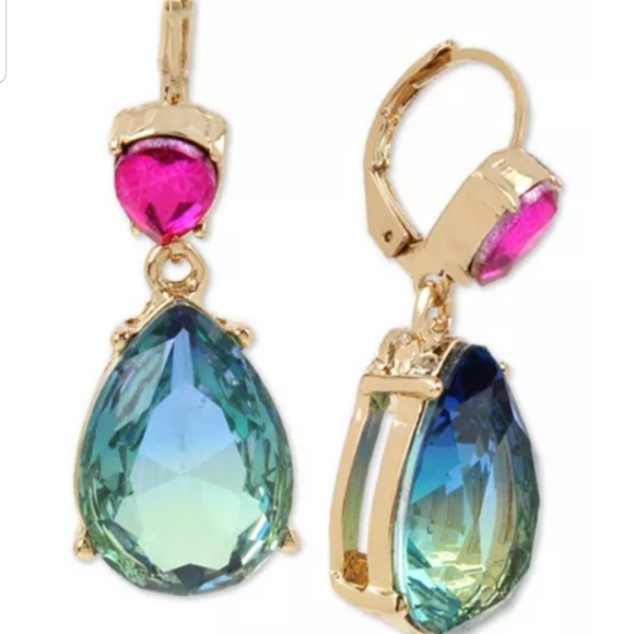 Gold-Tone Ombre Stone Drop Earrings